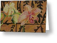 Orchid With Tapa Greeting Card