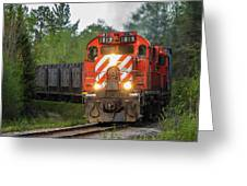 Red Ore Train On A Curve Near Bathurst Greeting Card