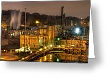 Oregon City Electricity Power Plant At Night Greeting Card