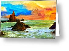 Oregon Coast At Sunset Greeting Card