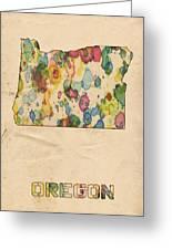 Oregon Map Vintage Watercolor Greeting Card