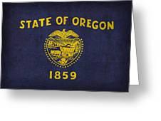 Oregon State Flag Art On Worn Canvas Greeting Card