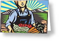 Organic Farmer Farm Produce Harvest Retro Greeting Card by Aloysius Patrimonio