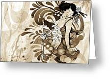 Oriental Beauty Sepia Tone Greeting Card