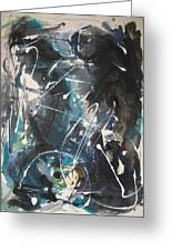 original abstract blue and black painting for sale-Blue Valley Greeting Card
