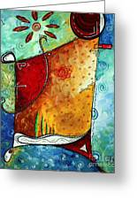 Original Abstract Pop Art Style Colorful Landscape Painting Home To Tuscany By Megan Duncanson Greeting Card