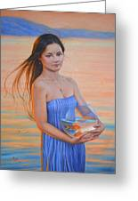 Original Classic Oil Painting Girl Art- Chinese Beautiful Girl And Goldfish Greeting Card
