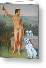 Original Classic Oil Painting Man Body Art-male Nude And Dogs #16-2-4-11 Greeting Card
