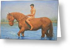 Original Classic Oil Painting Man Body Art Male Nudeand Horse #16-2-5-45 Greeting Card