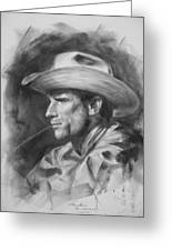 Original Drawing Sketch Charcoal Chalk  Gay Man Portrait Of Cowboy Art Pencil On Paper By Hongtao  Greeting Card