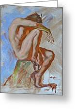 Original Impression Oil Painting Gay Man Body Art Male Nude -189 Greeting Card