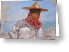 Original Oil Painting - Chinese Woman#16-2-5-26 Greeting Card