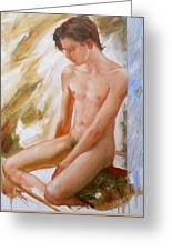Original Boy Man Body Oil Painting Male Nude Sitting On The Window#16-2-5-28 Greeting Card