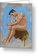 Original Oil Painting Man Body Art - Male Nude -037 Greeting Card