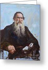 original oil painting - portrait of Leo Tolstoy #16-2-5-27 Greeting Card