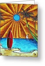 Original Tropical Surfing Whimsical Fun Painting Waiting For The Surf By Madart Greeting Card