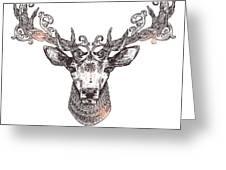 Ornamental Tattoo Deer Head. Highly Greeting Card