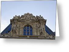 Ornate Architectural Artwork On The Musee Du Louvre Buildings In Paris France  Greeting Card