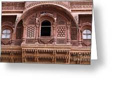 Ornate Balcony At Meherangarh Fort At Jodhpur In India Greeting Card
