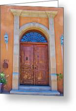 Ornate Door On Adobe House Greeting Card