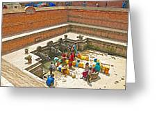 Ornate Fountains With Holy Water From The Bagmati River In Patan Durbar Square In Lalitpur-nepal   Greeting Card