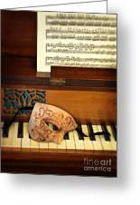 Ornate Mask On Piano Keys Greeting Card