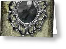 Ornate Metal Mirror Reflecting Church Greeting Card by Amanda Elwell