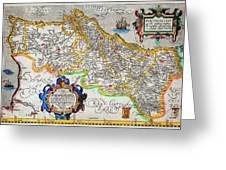 Ortelius Map Of Portugal Porvgalliae Geographicus Portugalliae Ortelius 1587 Greeting Card