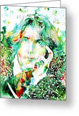 Oscar Wilde Watercolor Portrait.2 Greeting Card by Fabrizio Cassetta