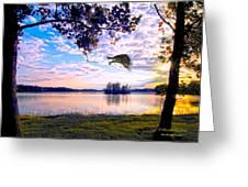 Osprey Leaving Perch Sundown Lake Greeting Card