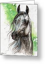 Ostragon Polish Arabian Horse Painting   Greeting Card