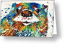 Otter Art - Ottertude - By Sharon Cummings Greeting Card