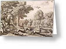 Otter Hunting By A River, Engraved Greeting Card
