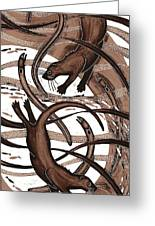 Otter With Eel, 2013 Woodcut Greeting Card