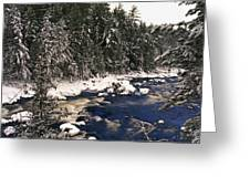 Ouareau River And Snow Covered Greeting Card