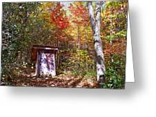 Out House In The Fall Greeting Card
