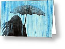 Out In The Rain Greeting Card