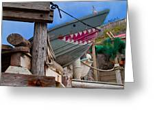 Out Of The Water - There's A Shark Greeting Card by Bill Gallagher