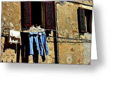Out To Dry In San Gimigniano Tuscany Greeting Card