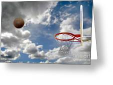Outdoor Basketball Shot Greeting Card by Lane Erickson