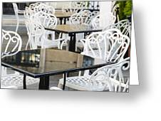 Outdoor Cafe Tables Greeting Card by Oscar Gutierrez