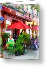 Outdoor Cafe With Red Umbrellas Greeting Card