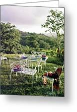 Outdoor Furniture By Lloyd On Grassy Hillside Greeting Card
