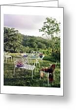 Outdoor Furniture By Lloyd On Grassy Hillside Greeting Card