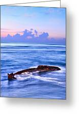 Outer Banks - Beached Boat Final Sunrise II Greeting Card