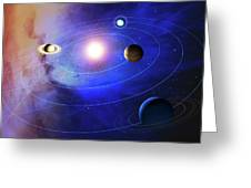 Outer Solar System Planets Greeting Card