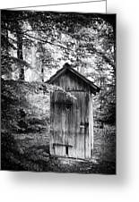 Outhouse In The Forest Black And White Greeting Card