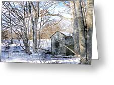 Outhouse In Winter Greeting Card