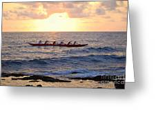 Outrigger Canoe At Sunset In Kailua Kona Greeting Card