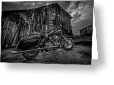 Outside The Barn Bw Greeting Card